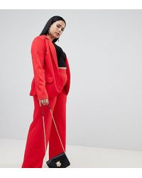 Missguided - Tailored Wide Leg Trouser In Red - Lyst