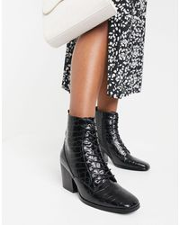 Glamorous Lace Up Heeled Ankle Boots With Square Toe - Black