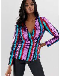 ASOS Stripe Sequin Embellished Wrap Long Sleeve Top - Blue