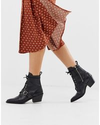 AllSaints Katy Lace Up Heeled Leather Boots With Buckle - Black