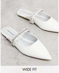 London Rebel Wide Fit Bridal Embellished Flat Mules - White