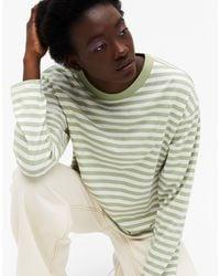Monki Maja - T-shirt à manches longues en coton biologique à rayures vertes
