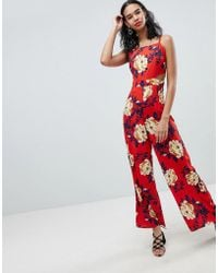 a80b397346 Boohoo - Strappy Floral Cut Out Jumpsuit - Lyst