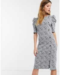 River Island Midi Dress With Puff Sleeves - Multicolour