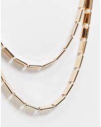 ASOS – Mehrreihige, goldene Halskette mit Plättchen - Mettallic