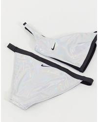 Nike Серебристые Плавки Бикини С Переливающимся Эффектом Flash-серебряный - Металлик