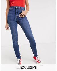 Monki Oki Skinny High Waist Jeans With Organic Cotton - Blue