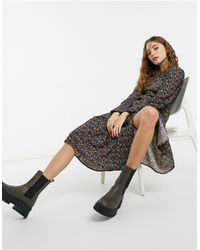 TOPSHOP - Puff Sleeve Ruffle Hem Midi Dress - Lyst