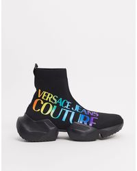 Versace Jeans Couture – Hohe Strick-Sneaker - Schwarz