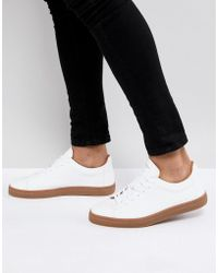 SELECTED - Trainers In White Leather With Gum Sole - Lyst