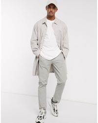 ASOS Single Breasted Lightweight Trench Coat - Natural