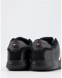 Tommy Hilfiger - Черные Кожаные Кроссовки С Логотипом-флагом Сбоку -черный Цвет - Lyst