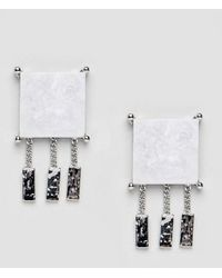 ASOS - Asos Stud Earrings With Marble Effect Recycled Cotton Stone - Lyst