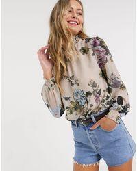 Oasis Dandelion Print High Neck Top With Lace Trim - Multicolour