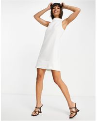 Closet High Neck Mini Shift Dress - White