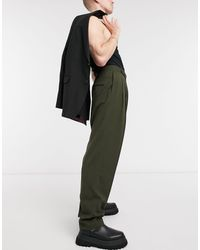 ASOS Smalle Pantalon Met Hoge Taille En Fijne Textuur - Groen