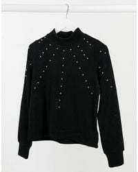 Pimkie Washed Sweat With Stud Detail - Black