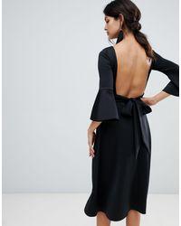 True Violet Bow Back Skater Dress - Black