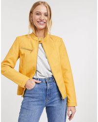 ONLY Melanie Faux Leather Biker Jacket - Yellow