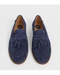 H by Hudson Alloa - Gevlochten Suède Loafers Met Brede Pasvorm In Marineblauw