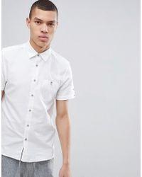 Ted Baker - Slim Short Sleeve Linen Shirt In White - Lyst