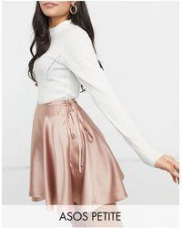 ASOS Asos Design Petite Satin Wrap Mini Skirt - Pink