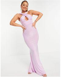 Club L London Сиреневое Платье Макси С Юбкой Годе С Перекрещенным Дизайном Спереди -фиолетовый Цвет - Пурпурный