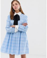 Sister Jane Mini Smock Dress With Pussybow In Large Scale Check - Blue