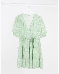 Stradivarius Зеленое Платье Мини С Цветочным Принтом И Пышными Рукавами -зеленый