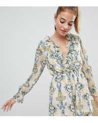 ASOS - Asos Design Petite Playsuit In Crinkle Chiffon And Floral Print - Lyst