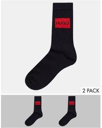 HUGO 2 Pack Rib Label Sock - Black