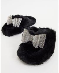 Public Desire Bunnie Diamante Slippers - Black