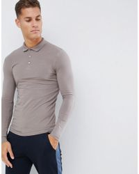 ASOS Muscle Fit Long Sleeve Polo In Jersey In Beige - Natural