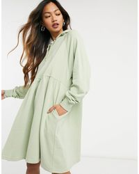Monki Malin Organic Cotton Hoodie Mini Dress - Green