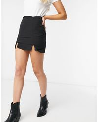 Pull&Bear - Minigonna nera con spacchi sul davanti - Lyst
