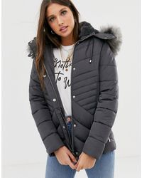 New Look Fitted Puffer Jacket - Grey