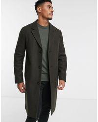 TOPMAN Пальто Цвета Хаки Из Искусственной Шерсти -зеленый - Многоцветный