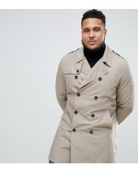 ASOS - Plus Shower Resistant Trench Coat In Stone - Lyst