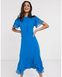 Oasis Ruffle Sleeve Midi Dress - Blue