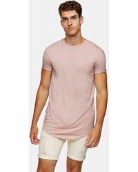 TOPMAN Longline T-shirt - Pink