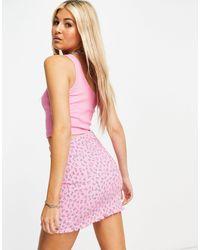 Bershka Розовая Юбка С Мелким Цветочным Принтом И Присборенной Отделкой От Комплекта -розовый Цвет