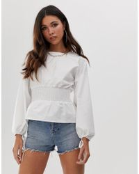 Missguided - Top With Shirred Waist In White - Lyst