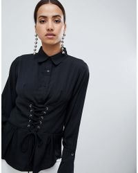 AX Paris - Long Sleeve Shirt With Corset Detail - Lyst