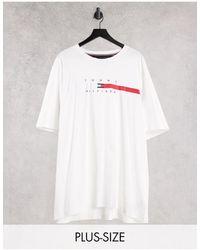 Tommy Hilfiger - Белая Футболка С Полоской На Груди И Логотипом Big & Tall Global-белый - Lyst