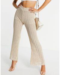 River Island Pantalon ample en maille au crochet (pièce d'ensemble) - Métallisé