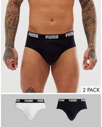 PUMA 2 Pack Briefs In White/black