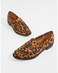 Glamorous Leopard Print Flat Loafers - Brown