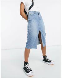 Vila Distressed Denim Skirt - Blue