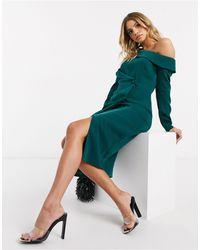 Lavish Alice Изумрудно-зеленое Платье-пиджак Миди -зеленый