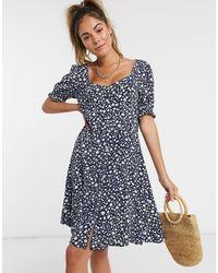 Pimkie Button Front Puff Sleeve Mini Dress - Blue